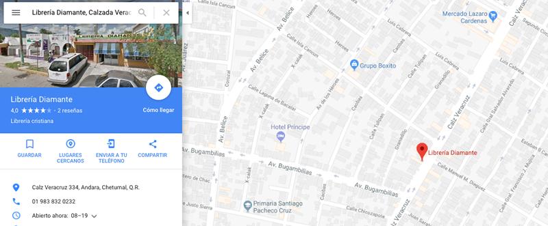 Google maps - Librería Diamante